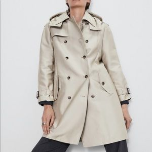 Zara water resistant hooded trench coat